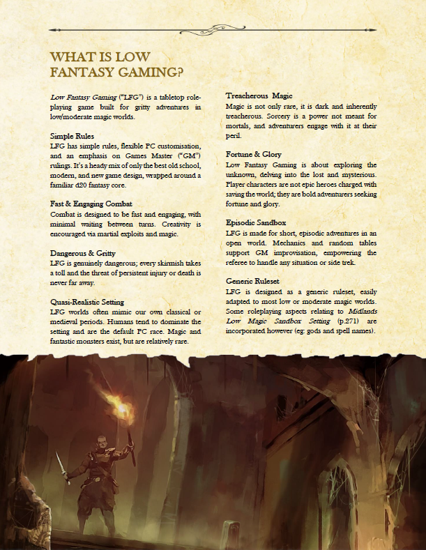 What is low fantasy gaming page