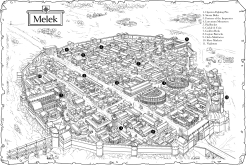 Melek on map background