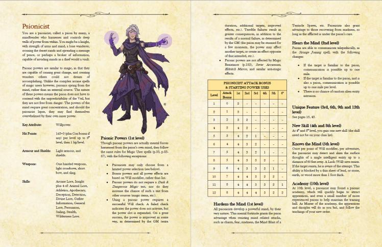 Psionicist pages 1 & 2