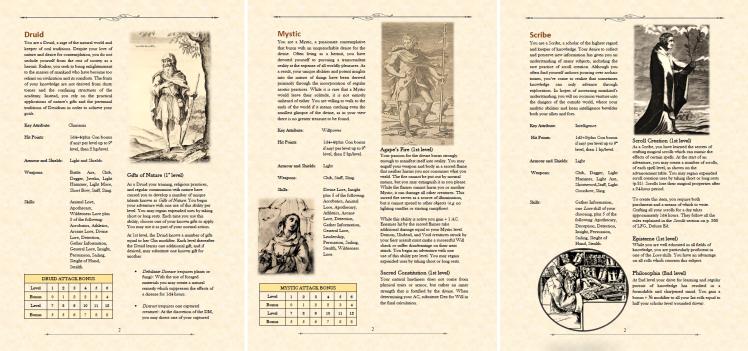 Druid Mystic Scribe classes